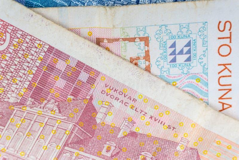 Kroat KUNA eller för pengarvaluta för STO KUNA closeup arkivbild
