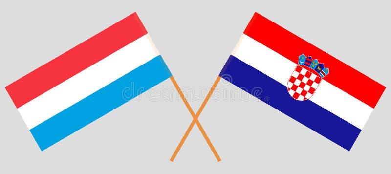 Kroatië en Luxemburg De Kroatische en Luxemburgse vlaggen Offici?le kleuren Correct aandeel Vector royalty-vrije illustratie
