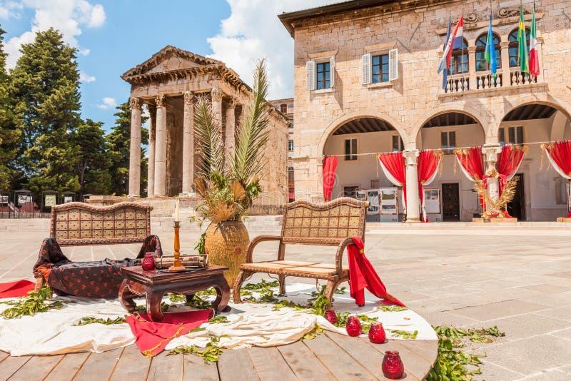 Kroatië Forumvierkant in oude stad van Pula stock afbeelding