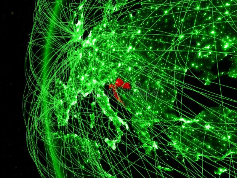 Kroatië van ruimte op groen model van Aarde met internationale netwerken Concept groene mededeling of reis 3D Illustratie royalty-vrije stock foto