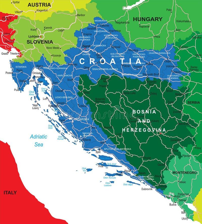 Kroatienöversikt stock illustrationer