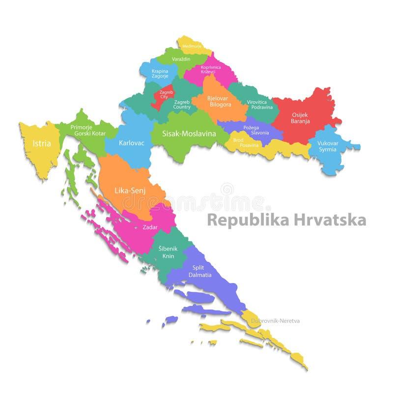 Kroatienöversikt, ny politisk detaljerad översikt, separata individuella regioner, med tillståndsnamn som isoleras på vit bakgrun stock illustrationer