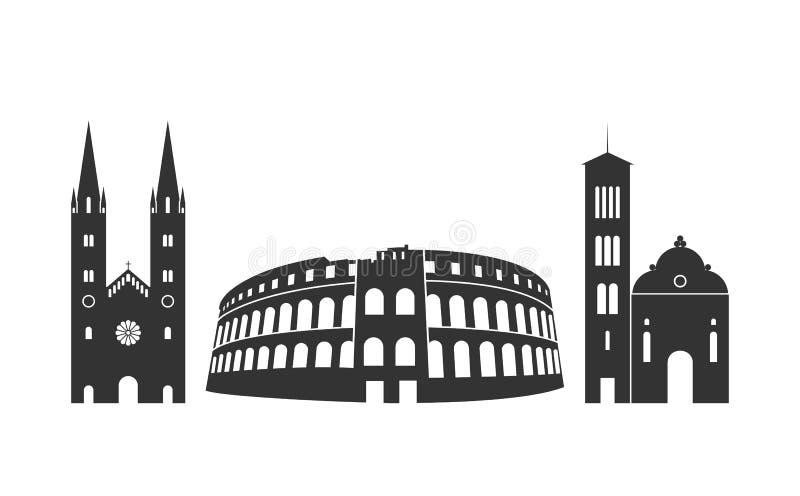 Kroatien-Logo Lokalisierte kroatische Architektur auf weißem Hintergrund lizenzfreie abbildung