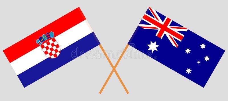 Kroatien och Australien Kroaten och de australiska flaggorna Officiella f?rger Korrigera proportionen vektor vektor illustrationer