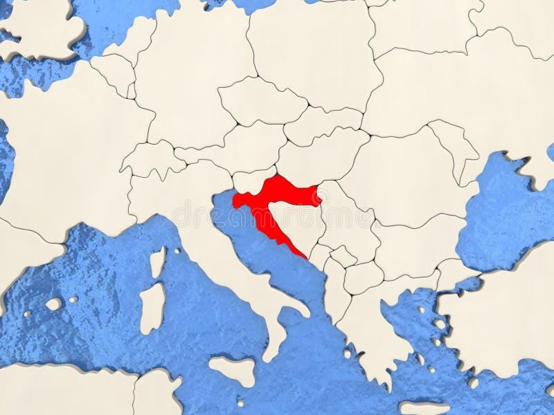 Kroatien på översikt stock illustrationer