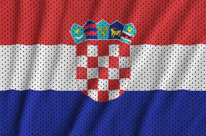 Kroatien sjunker utskrivavet på ett tyg för ingrepp för polyesternylonsportswear arkivbilder