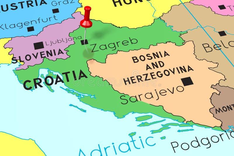 Kroatien Zagreb - huvudstad som klämmas fast på politisk översikt stock illustrationer