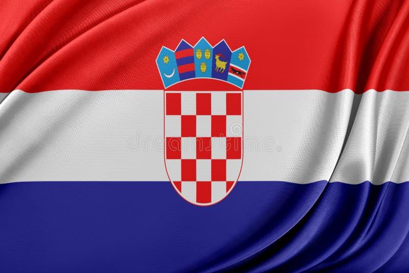 Kroatienflagga med en glansig siden- textur vektor illustrationer