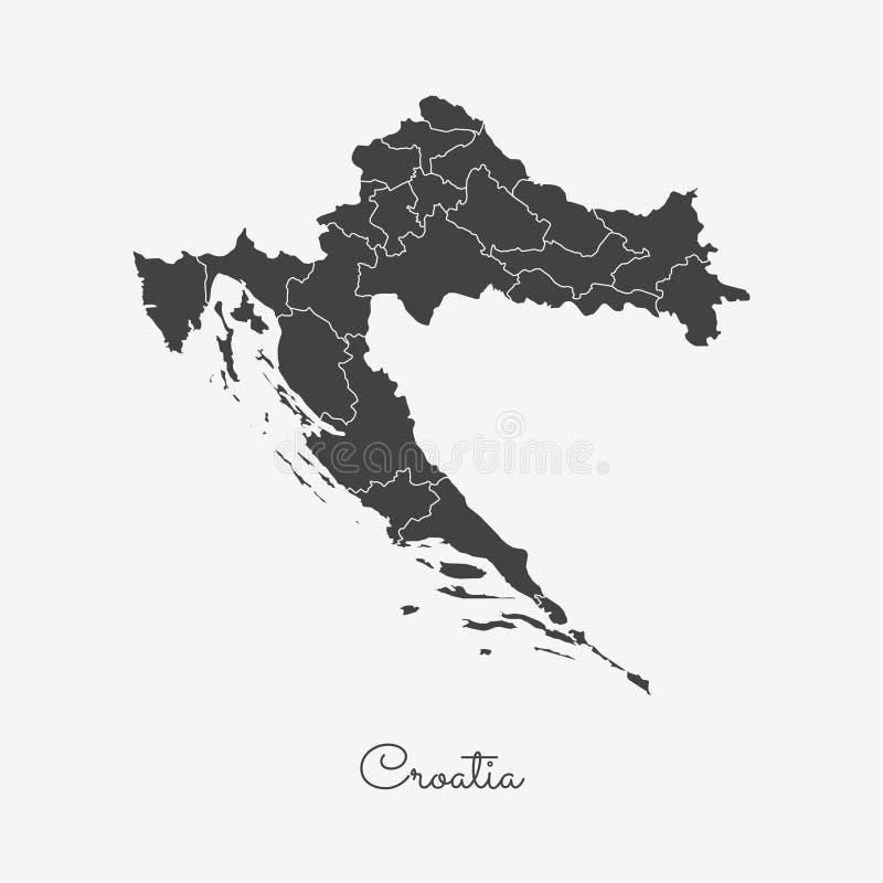 Kroatienregionöversikt: grå färger skisserar på vit vektor illustrationer