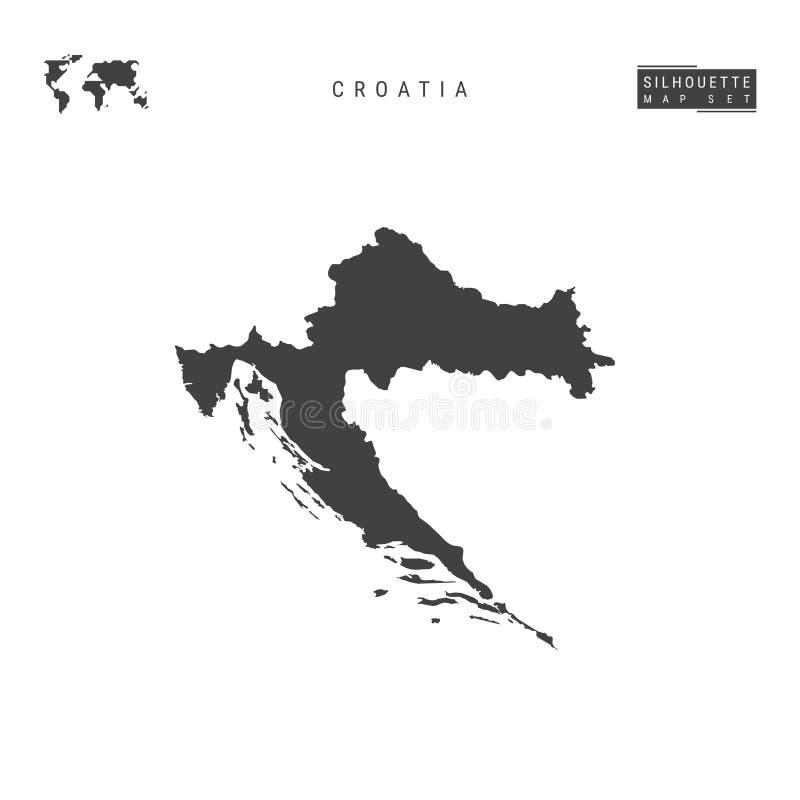 Kroatienvektoröversikt som isoleras på vit bakgrund Hög-specificerad svart konturöversikt av Kroatien royaltyfri illustrationer