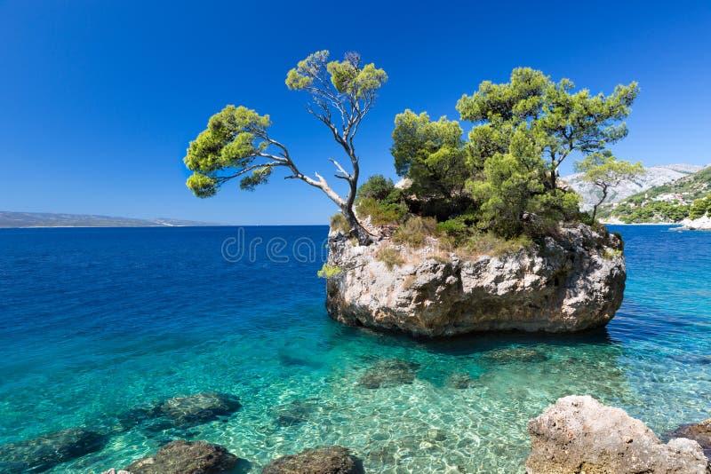 Kroatisch strand bij een zonnige dag, Brela, Kroatië royalty-vrije stock afbeelding
