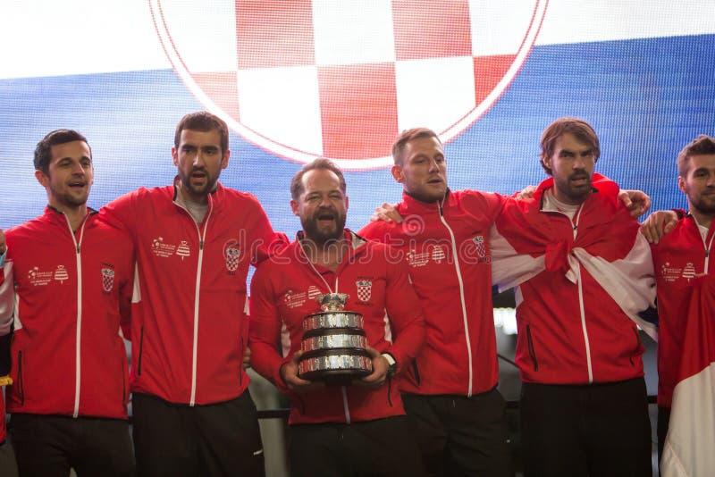 Kroatisch tennisteam op welkome huisviering royalty-vrije stock afbeelding
