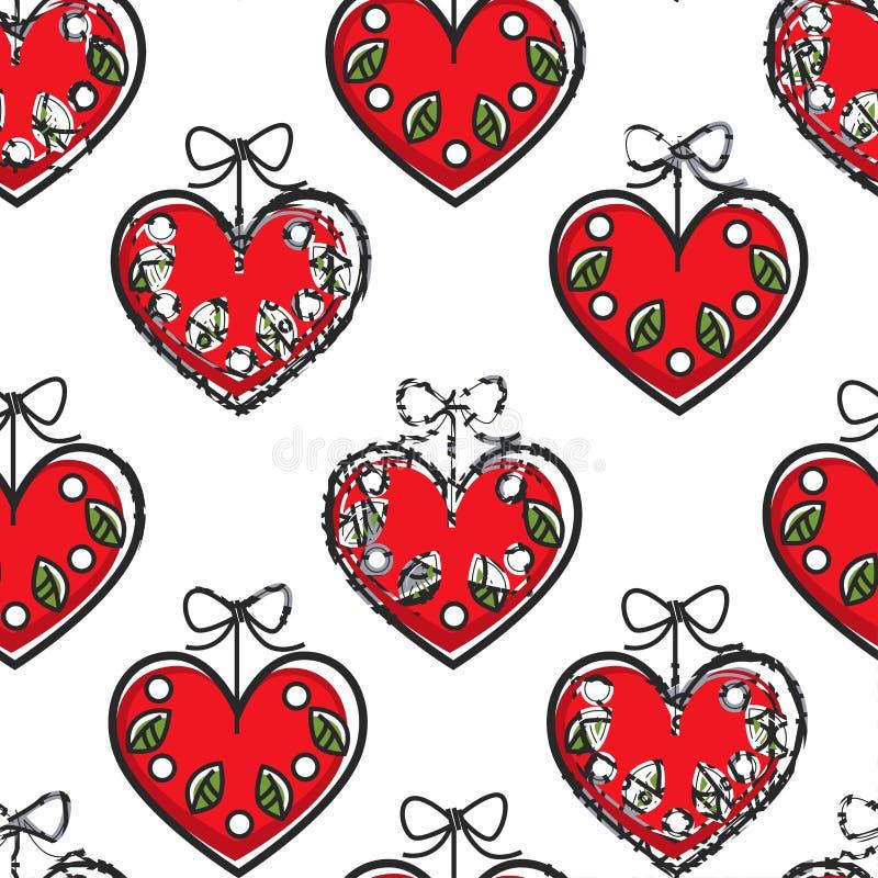 Kroatische Herzandenken mit dem nahtlosen Musterreisen der Blumen lizenzfreie abbildung