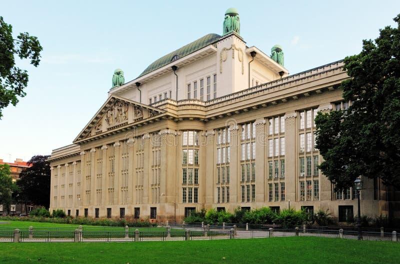 Kroatische nationale rijksarchieven die Zagreb inbouwen royalty-vrije stock afbeeldingen