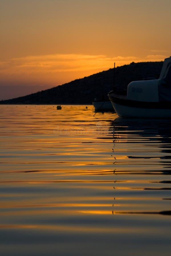 Kroatische zonsondergang royalty-vrije stock afbeelding