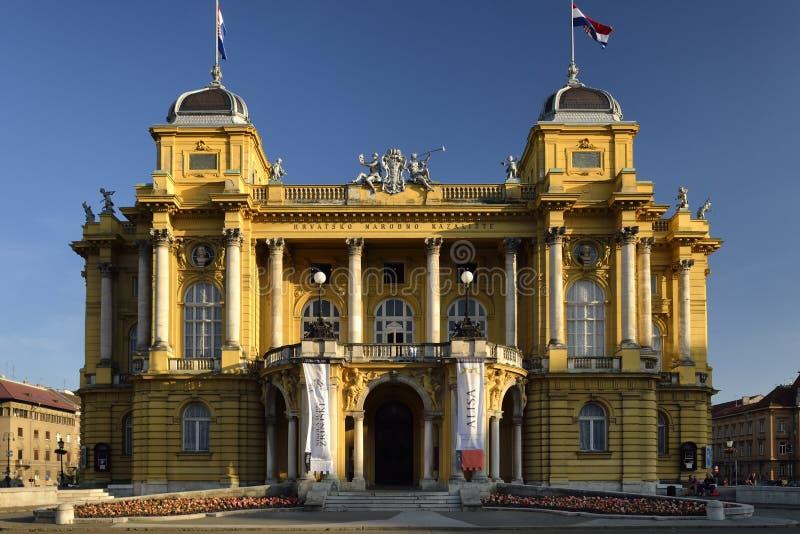 Kroatisk nationell teater i Zagreb, Kroatien arkivfoto