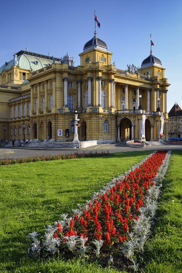 Kroatisk nationell teater i Zagreb, Kroatien arkivbilder