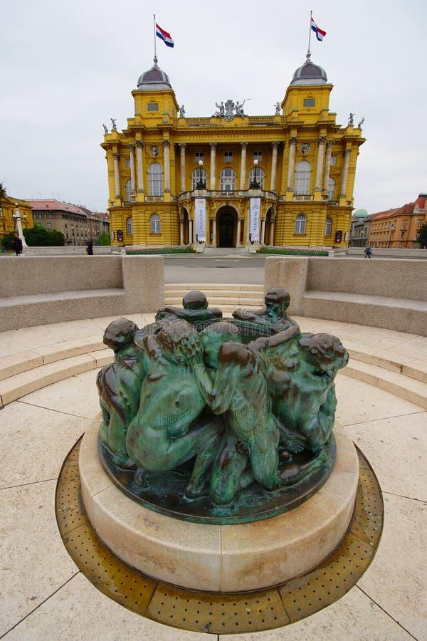 Kroatisk nationell teater, Zagreb, Kroatien royaltyfri foto