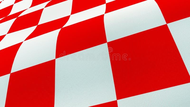 Kroatisk vinkande flagga för rött och vitt kontrollbräde arkivbilder