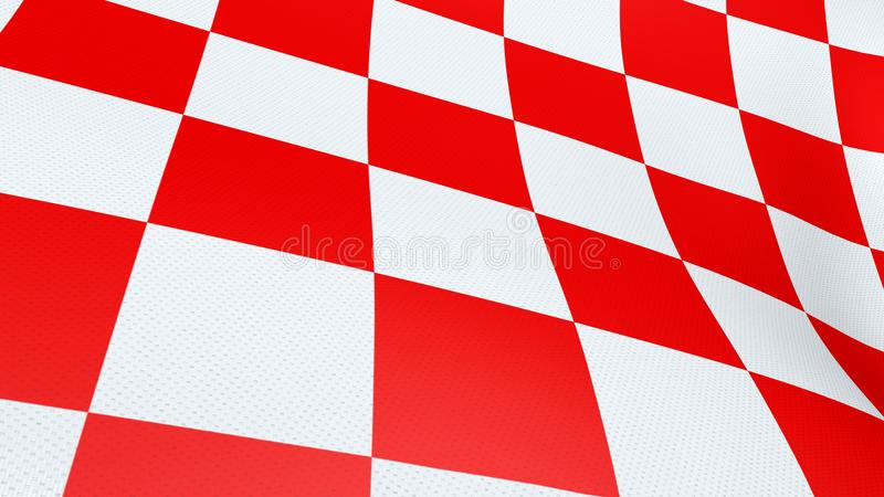 Kroatisk vinkande flagga för rött och vitt kontrollbräde arkivfoton