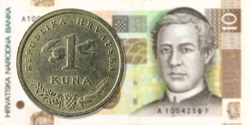 1 kroatiska kunamynt mot för kunasedel för 10 kroat avers royaltyfria bilder