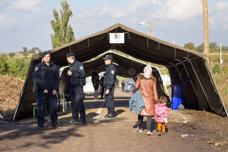 Kroatiska poliser som ser en kvinnaflykting och hennes barn som korsar den Serbien Kroatien, gränsar i Berkasovo Bapska royaltyfria bilder