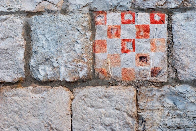 Kroatiskt emblem på väggen arkivfoto