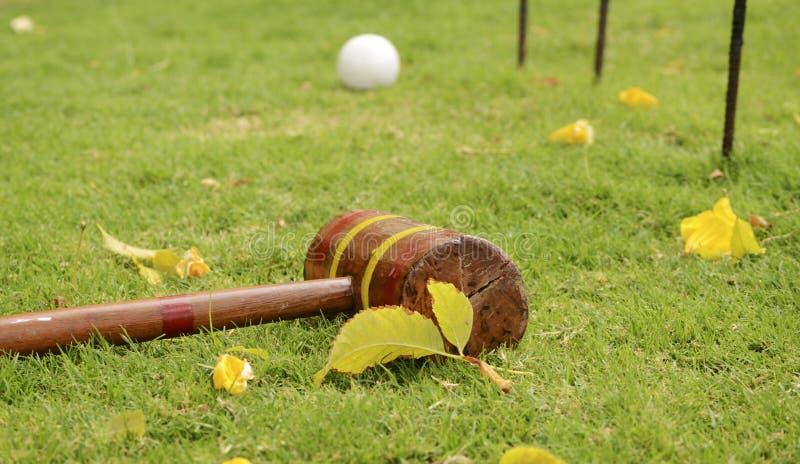Krocketschläger und Ball mit Bändern Spiele im Freien auf einem Gras lizenzfreies stockbild