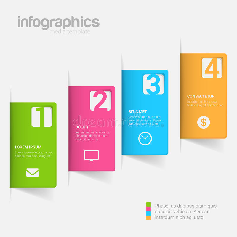 Kroczy etykietki 3D infographics mockup szablonu wektoru tło royalty ilustracja
