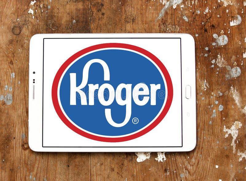 Kroger stores logo. Logo of kroger stores on samsung tablet on wooden background royalty free stock image