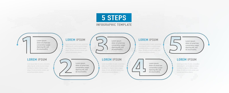 5 kroków elementów Obieg graficzny projekt Infograph linia czasu Strategii pracy diagram Infographic Szablon wektor royalty ilustracja