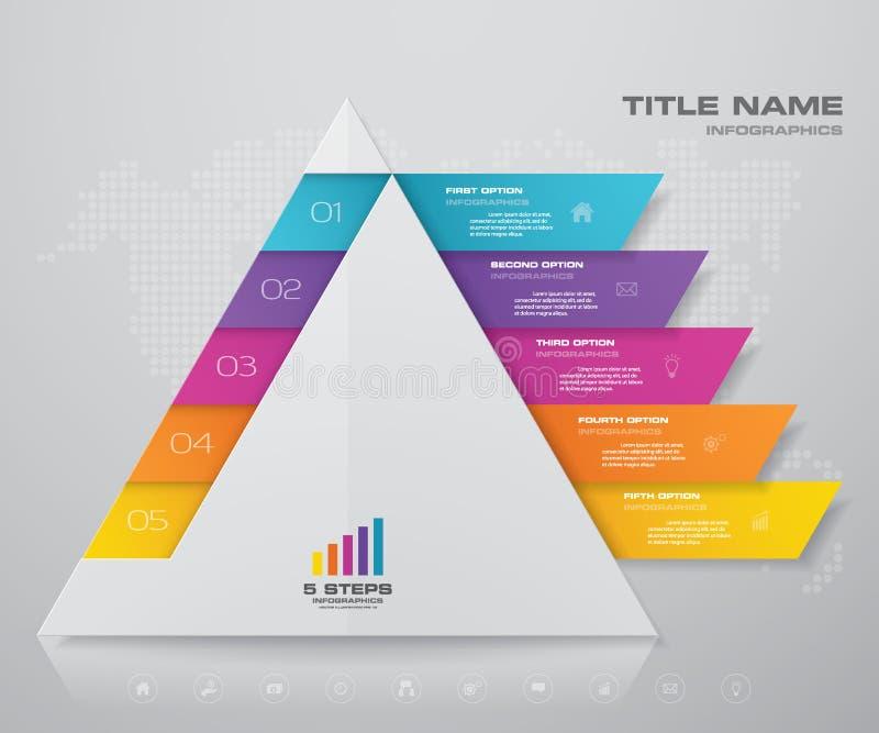 5 kroków ostrosłup z bezpłatną przestrzenią dla teksta na each poziomie infographics, prezentacje lub reklama, ilustracji