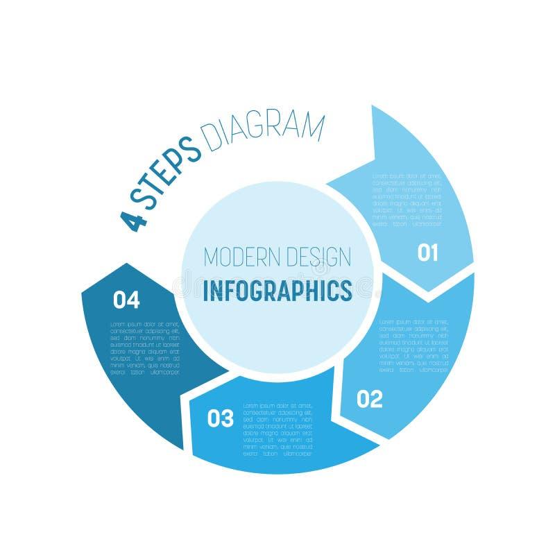 4 kroków proces nowożytny infographic diagram Wykresu szablon cztery strzała w okręgu Biznesowy pojęcie 4 kroka lub ilustracja wektor