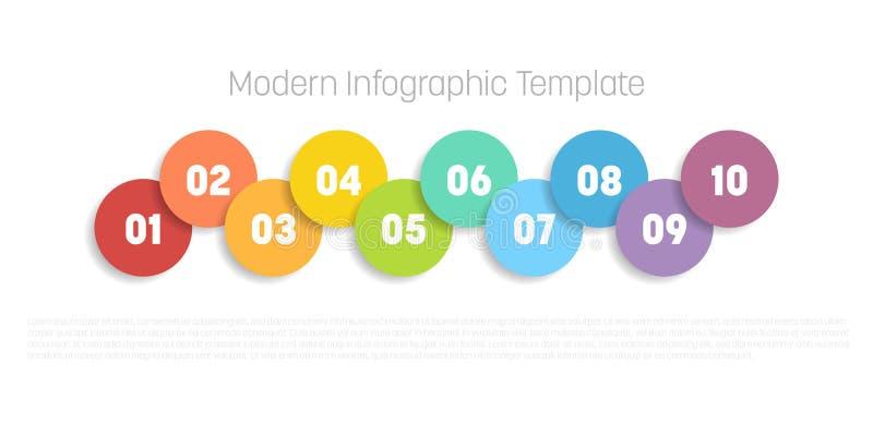 10 kroków proces nowożytny infographic diagram Wykresu szablon okręgi Biznesowy pojęcie 10 opcj lub kroki nowożytny ilustracja wektor