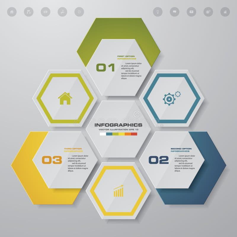 3 kroków proces Simple&Editable projekta abstrakcjonistyczny element wektor ilustracja wektor