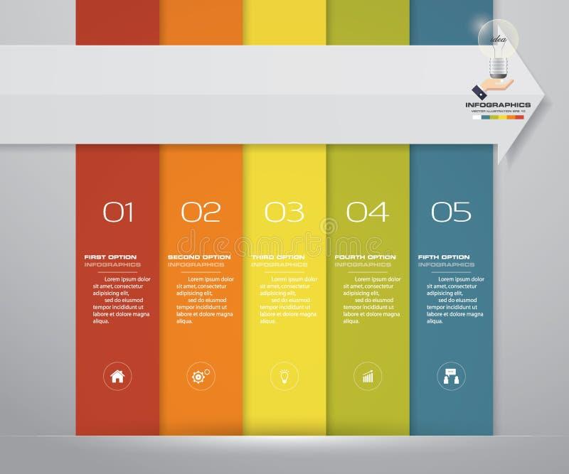 5 kroków przetwarzają infographics element dla prezentaci ilustracja wektor