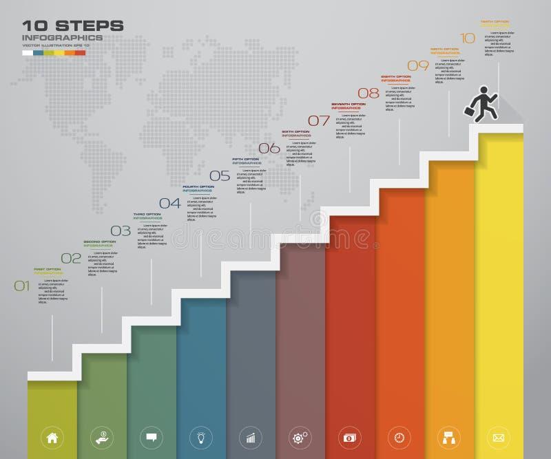 10 kroków schody Infographic element dla prezentaci ilustracja wektor