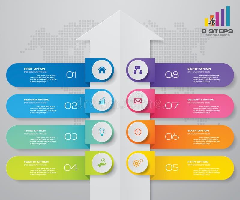 8 kroków strzałkowaty Infografics szablon Dla twój prezentaci ilustracji