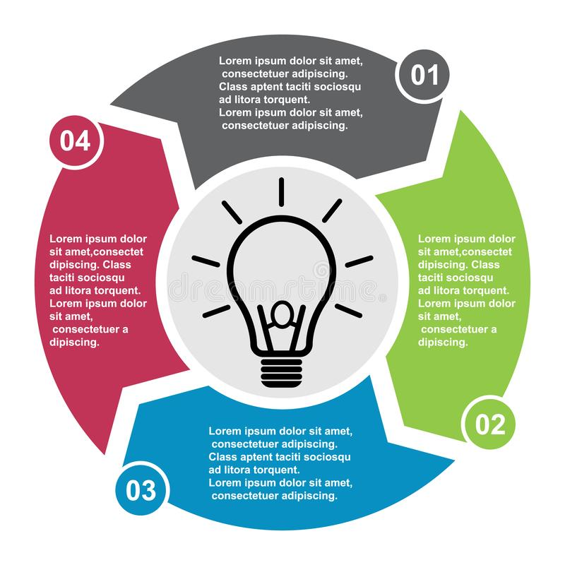 4 kroków wektorowy element w cztery kolorach z etykietkami, infographic diagram Biznesowy pojęcie 4 opci z żarówką lub kroki ilustracja wektor