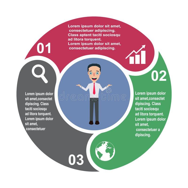 3 kroków wektorowy element w trzy kolorach z etykietkami, infographic diagram Biznesowy pojęcie 3 opci z biznesmenem lub kroki ilustracja wektor