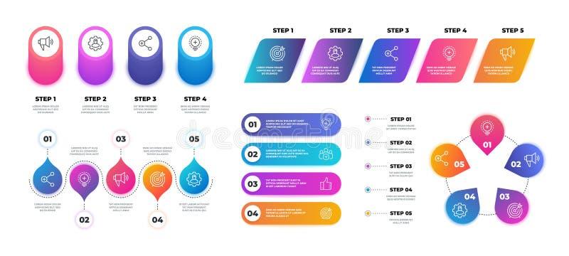 Krok 3D infographic Linia czasu wykresu mapa, obieg prezentacji biznesowy szablon, flowchart struktura wektor royalty ilustracja