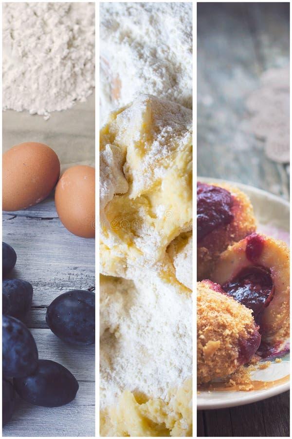 Krok po kroku: śliwkowy klucha kolaż Świeże śliwki, jajka i flou -, fotografia stock