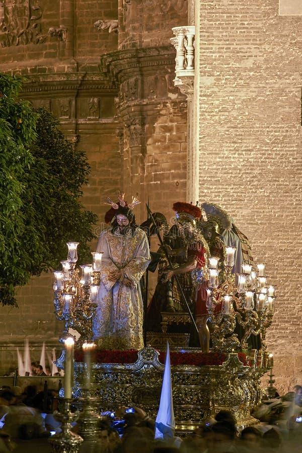 Krok tajemnica bractwo gorycz, Święty tydzień w Seville zdjęcie stock