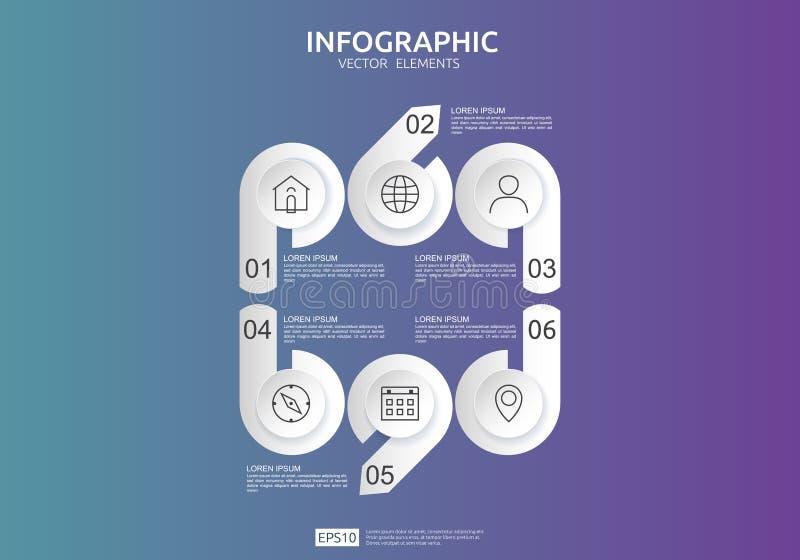 6 krok?w infographic linia czasu projekta szablon z 3D papieru etykietk?, zintegrowani okr?gi Biznesowy poj?cie z opcjami Dla zaw royalty ilustracja