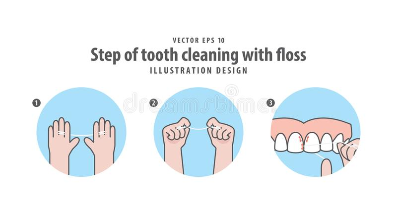 Krok zębu cleaning z floss ilustracyjnym wektorem na błękitnych półdupkach ilustracji
