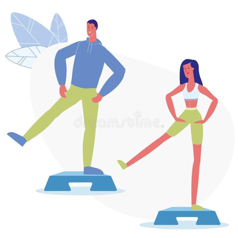 Kroka aerobik Grupuje Płaską Wektorową ilustrację ilustracji