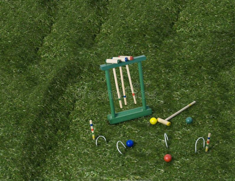 Krokett eingestellt auf den Rasen stockfotografie