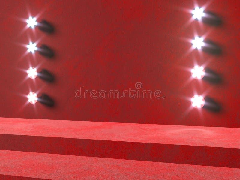Kroki czerwona scena - 3d odpłacają się ilustrację Podium i łuny światło reflektorów royalty ilustracja