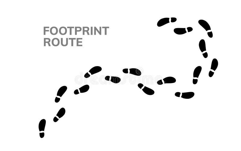 Kroki odcisku stopego trekking trasa Pod??a no?nych krok?w szlakowego ludzkiego ?lad, piechur ?cie?ki druk royalty ilustracja