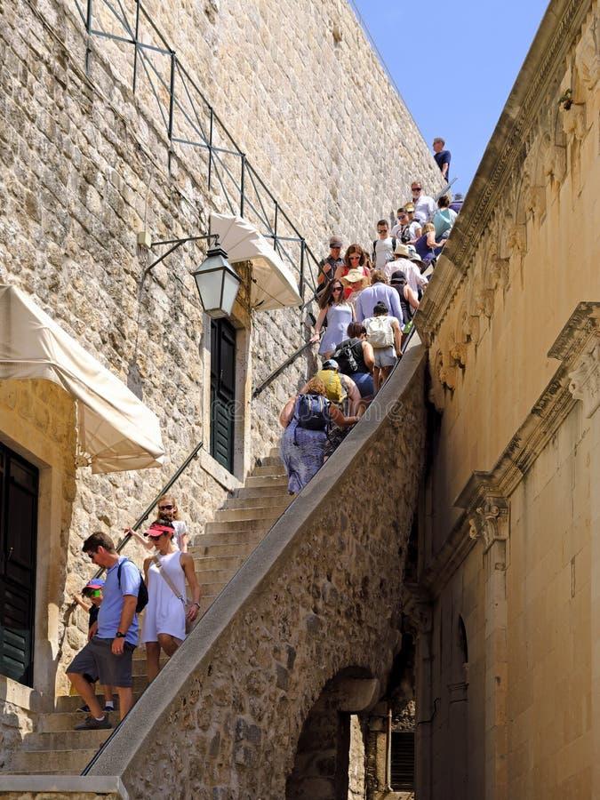 Kroki Stare Grodzkie ściany, Dubrovnik, Chorwacja obrazy royalty free